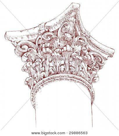 Hand draw sketch chapiter. Architectural element of a historic building in Prague. Vector illustration.