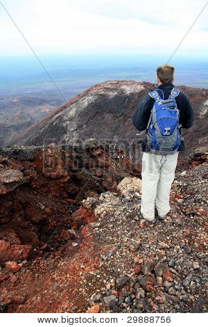 Hiking into active Mutnovsky Volcano