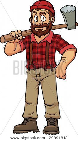 Cartoon lumberjack holding an axe. Vector illustration with simple gradients. All in a single layer.