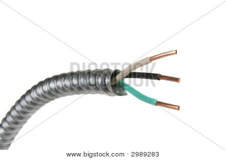 Electrical Wire In Conduit On A White Background