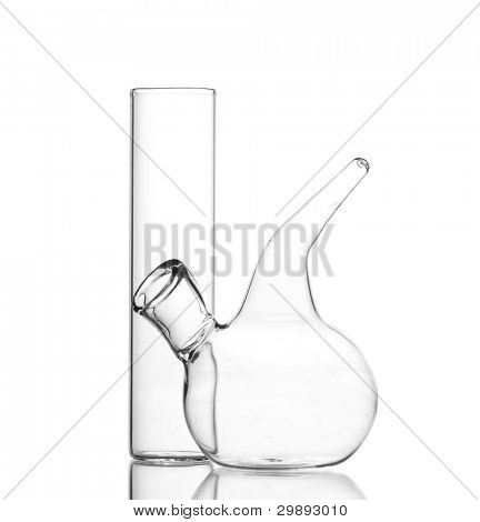 Two empty laboratory glassware with reflection isolated on white