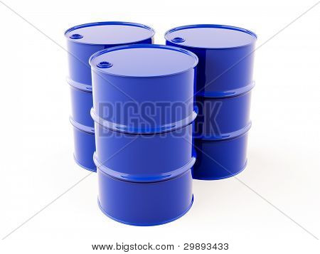 The blue metal barrel on a light background