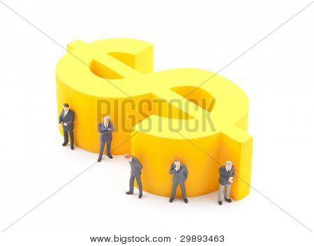 Dollar symbol with figures of businessman