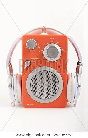 Orange radio with headphones