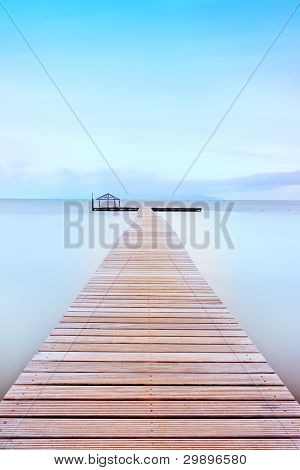 Wooden Pier In A Cold Atmosphere. Tuscan Coast.