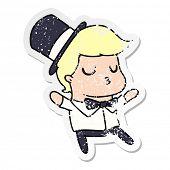 freehand drawn distressed sticker cartoon of kawaii cute prom boy poster