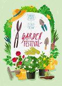 Garden Cartoon Posteroutdoor Garden Landscape Isolated Plants Cartoon Vertical Poster. Summer And Sp poster