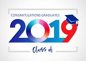 Class Of 20 19 Year Graduation Banner, Awards Concept. T-shirt Idea, Holiday Coloured Invitation Car poster