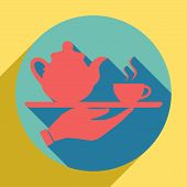Hand With Cup Of Coffee Or Tea Sign Illustration. Sunset Orange Icon With Llapis Lazuli Shadow Insid poster