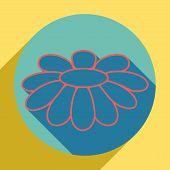 Fower Chamomile Sign Illustration. Sunset Orange Icon With Llapis Lazuli Shadow Inside Medium Aquama poster