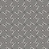 Vector Monochrome Geometric Seamless Pattern With Diagonal Stripes, Lines, Square Tiles. Black And W poster