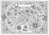 Black And White Map Of Fantasy Land With Nautical Compass, Pirates, Vignette Banner. Hand Drawn Grap poster