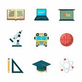 Back To School Flat Icon. Education Learning Graduation Vector Symbols College Application Pictures. poster