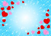Empty Blue Frame And Red Pink Heart Shape For Template Banner Valentines Card Background, Many Heart poster