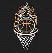 Vector Logo For Basketball, Decorative Badge With Burning Basketball Ball Flying On Trajectory In Ba poster