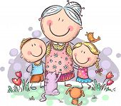 Everyone Loves Granny, Grandmother With Grandchilren And Pets, Colorful Vector Clipart poster