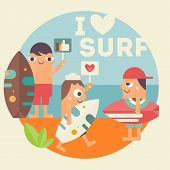 I Love Surfing Concept Poster. Funny Cartoon Surfers With Surfboard On Beach. Vector Illustration. R poster
