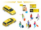 A Large Set Of Isomeric Images Of A Taxi Car, Traveling People With Baggage, A Mobile Taxi Call Appl poster