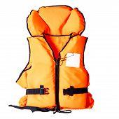 Orange Life Jacket Isolated On White Background poster