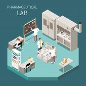 Pharmaceutical Production Isometric Composition With Pharmaceutical Lab Headline And Three Scientist poster