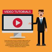 Video Tutorial  With Teacher Flat Design Illustration Eps 10 Vector poster