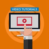 Flat Video Tutorial Design With Hand Illustration Eps 10 Vector poster