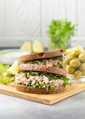 Sandwich With Tuna, Olives And Lemon. Delicious Lunch, Healthy Food, Snack With Fish On Crispy Toast poster