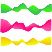 Neon Flowing Wave. Gradient Abstract Shapes Isolated On White. Green, Pink And Yellow Vibrant Fluid  poster