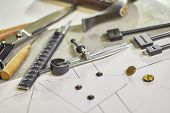 Leather Crafting Diy Tools And Templates On Workbench. Fittings And Leather Pieces With Craft Instru poster