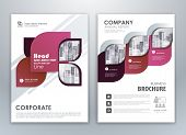Purple Annual Report Brochure Flyer Design Template. Leaflet Cover Presentation Abstract Background  poster