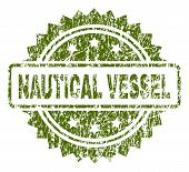 Nautical Vessel Stamp Seal Watermark With Rubber Print Style. Green Vector Rubber Print Of Nautical  poster