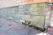 House Foundation Wall Damage Repair. Repair House Damaged Foundation, Foundation Cracks. poster