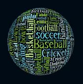 stock photo of netball  - List of Ball Games in Word Collage - JPG