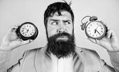 Guy Unshaven Puzzled Face Having Problems With Changing Time. Changing Time Zones Affect Health. Tim poster