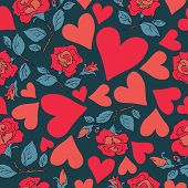 Abstract Seamless Pattern With Hearts And Roses. Valentines Day Illustration. Design For Gift Wrap,  poster