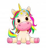 Little Unicorn With A Multi-colored Mane And Tail On White. poster