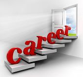 stock photo of open door  - Career red word on stair up to open door on white background - JPG