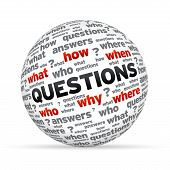stock photo of stress-ball  - 3D Questions sphere isoldated on white background - JPG