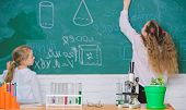 Back To School. Science Laboratory For School And Education. School Children In Science Classroom. M poster