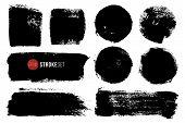 Vector Ink Blots Rectangular And Circle Shapes. Hand Painted Spots. Grunge Brush Strokes Big Set. poster