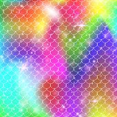 Princess Mermaid Background With Kawaii Rainbow Scales Pattern. Fish Tail Banner With Magic Sparkles poster
