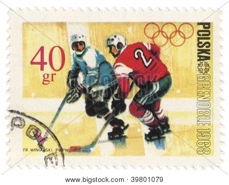 Eishockey auf Post Briefmarke