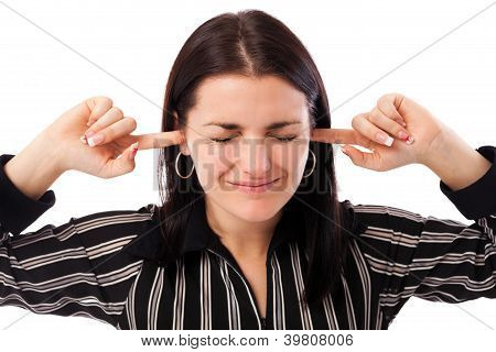 Young Businesswoman With Fingers In Ears