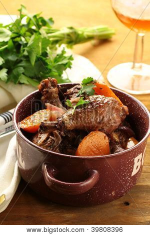 chicken in wine, coq au vin - traditional French cuisine