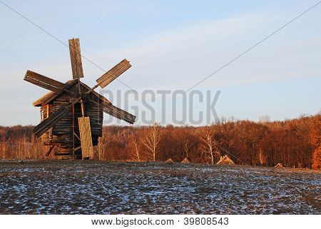 Antique Ramshackle Wooden Windmill
