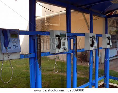 Public Phones Near The Hotel In Turkey