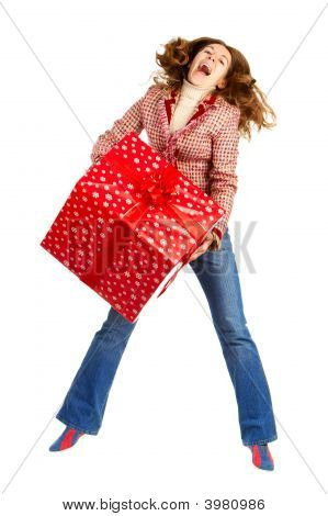Happy Woman And Christmas Present
