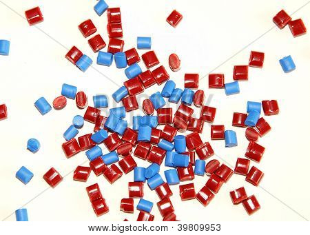 red and blue granulate