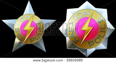 a pair of shiny fashion police badges