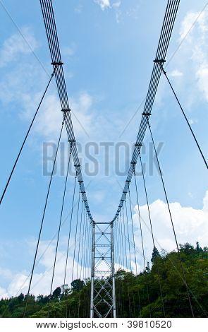 Rope Bridge With Blue Sky In Pelling